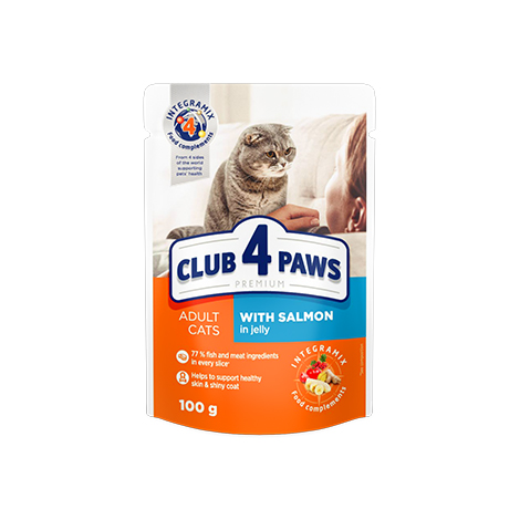 "CLUB 4 PAWS Premium ""With salmon in jelly"". Сomplete canned pet food for adult cats"