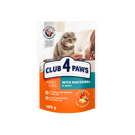 "CLUB 4 PAWS Premium ""With mackerel in gravy"". Сomplete canned pet food for adult cats"