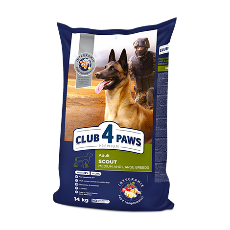 CLUB 4 PAWS PREMIUM «SCOUT» . СOMPLETE DRY PET FOOD FOR ADULT WORKING DOGS MEDIUM AND LARGE BREEDS