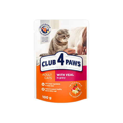 "CLUB 4 PAWS Premium ""With veal in gravy"". Сomplete canned pet food for adult cats"