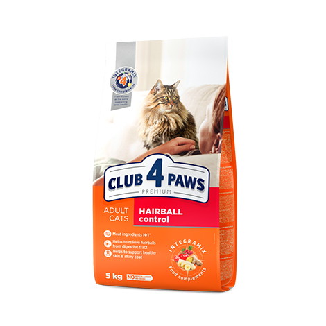 "CLUB 4 PAWS Premium ""HAIRBALL CONTROL"". Сomplete dry pet food for adult cats"