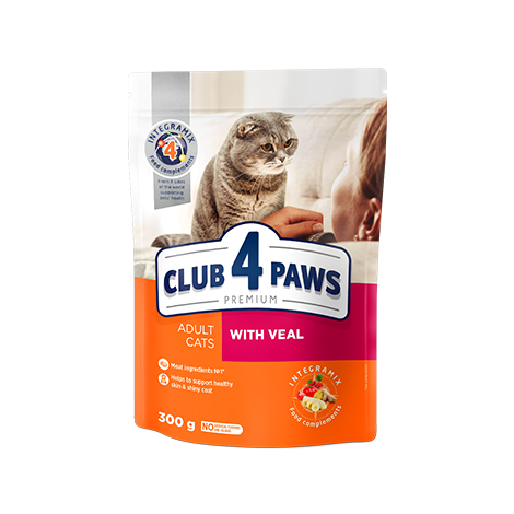 "CLUB 4 PAWS Premium ""With Veal"". Сomplete dry pet food for adult cats"
