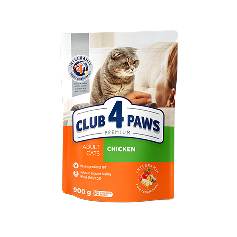 "CLUB 4 PAWS PREMIUM ""CHICKEN"". СOMPLETE DRY PET FOOD FOR ADULT CATS"