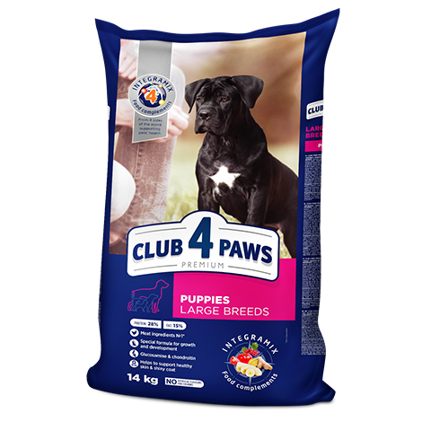 "CLUB 4 PAWS Premium for puppies of large breeds ""Сhicken"". Сomplete dry pet food"