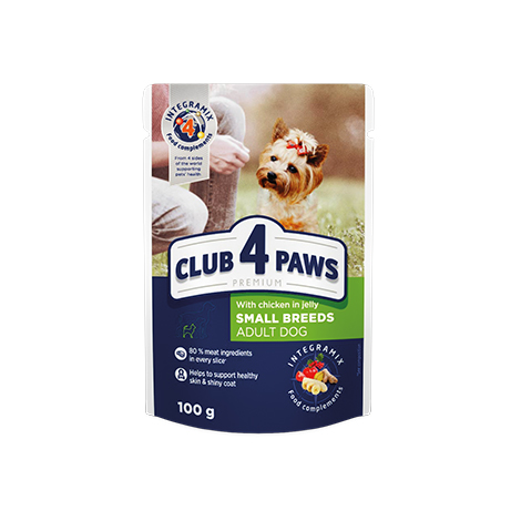 "CLUB 4 PAWS Premium ""With chicken in jelly"". Сomplete canned pet food for adult dogs"