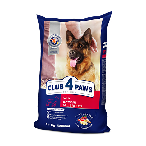 "CLUB 4 PAWS Premium ""Active"". Сomplete dry pet food for adult active dogs of all breeds"
