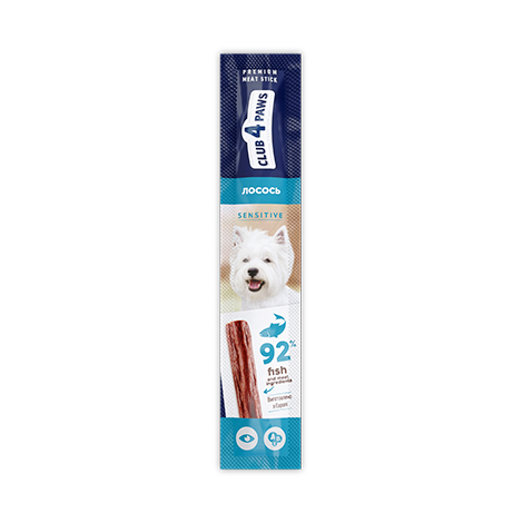 CLUB 4 PAWS SENSITIVE Premium meaty stick: SALMON. Complementary pet food for dogs