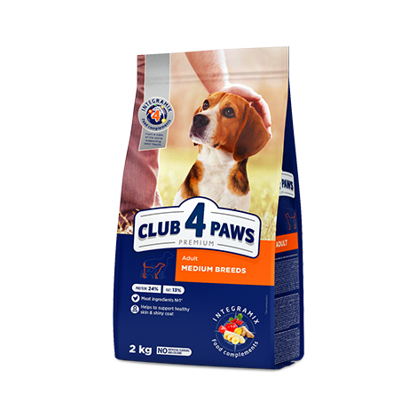 CLUB 4 PAWS Premium for MEDIUM breeds. Сomplete dry pet food for adult dogs