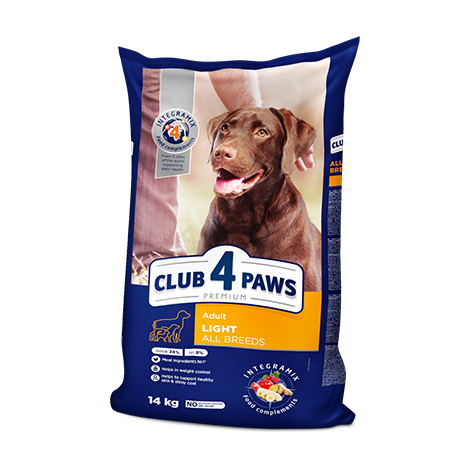 CLUB 4 PAWS Premium LIGHT. Сomplete dry pet food for weight control for adult dogs of all breeds