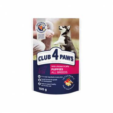 "CLUB 4 PAWS Premium for puppies ""With chicken in jelly"". Complete canned pet food"