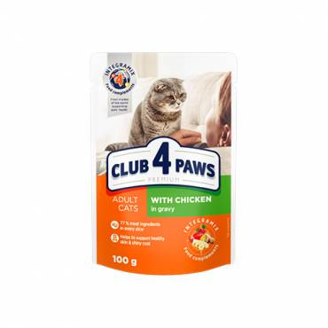 "CLUB 4 PAWS Premium ""With chicken in gravy"". Сomplete canned pet food for adult cats"