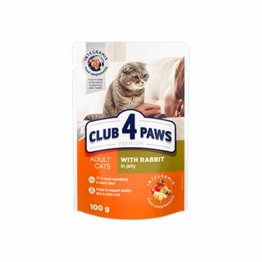 "CLUB 4 PAWS Premium ""With rabbit in jelly"". Сomplete canned pet food for adult cats"
