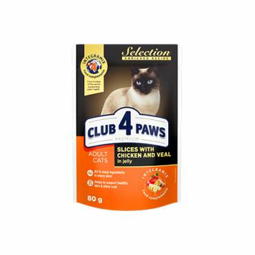 "CLUB 4 PAWS Premium ""Slices with chicken and veal in jelly"". Сomplete canned pet food for adult cats"