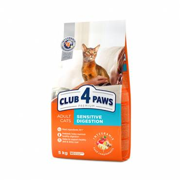 "CLUB 4 PAWS Premium ""SENSITIVE DIGESTION"". Сomplete dry pet food for adult cats"