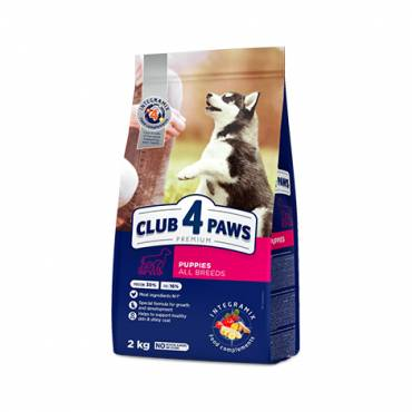 "CLUB 4 PAWS Premium for puppies ""Rich in chicken"". Сomplete dry pet food"