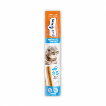 CLUB 4 PAWS Premium meaty stick: SALMON and COD. Complementary pet food for cats