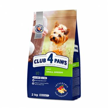 CLUB 4 PAWS Premium for SMALL breeds. Сomplete dry pet food for adult dogs