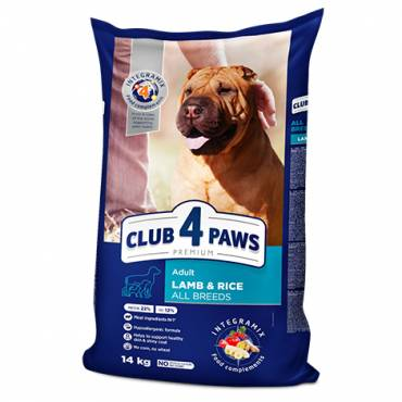 "CLUB 4 PAWS Premium ""Lamb and Rice"" for adult dogs of all breeds. Сomplete dry pet food"