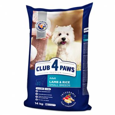 "CLUB 4 PAWS Premium ""Lamb and Rice"" for adult dogs of Small breeds. Сomplete dry pet food"