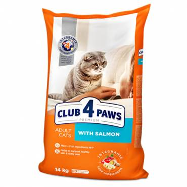"CLUB 4 PAWS Premium ""With Salmon"". Сomplete dry pet food for adult cats"