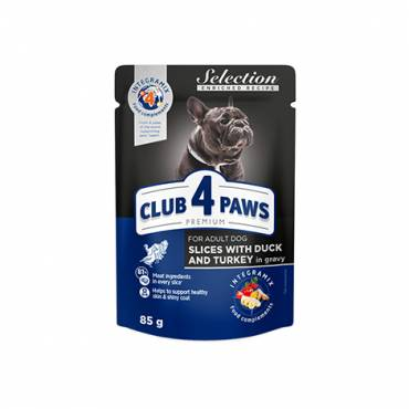 "CLUB 4 PAWS PREMIUM ""SLICES WITH DUCK AND TURKEY IN GRAVY"". COMPLETE CANNED PET FOOD FOR ADULT DOGS OF SMALL BREEDS"