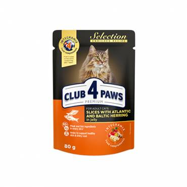 "CLUB 4 PAWS PREMIUM ""SLICES WITH ATLANTIC HERRING  AND BALTIC HERRING IN JELLY"". СOMPLETE CANNED PET FOOD FOR ADULT CATS"